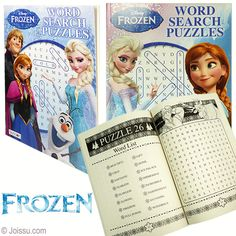 DISNEY'S FROZEN WORD SEARCH PUZZLES. Find the hidden words with all your favorite Frozen characters. 96 pages. Assorted styles. Sorry, no style choice available. Perfect for rainy days and Frozen party favors.  Size 8 X 11 inches, 96 page
