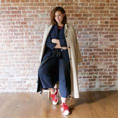 31 Perfect Looks To Copy This October #refinery29  http://www.refinery29.com/2016/10/124898/new-outfit-ideas-october-2016#slide-16  What better way to make a pinstriped suit feel more casual than by pairing it with Adidas?...
