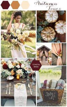 Autumn Wedding Color Inspiration of auburn, gold and copper wedding fall ideas / april wedding / wedding color pallets / fall wedding schemes / fall wedding colors november October Wedding Colors, Fall Wedding Colors, Wedding Color Schemes, Wedding Flowers, Metallic Wedding Theme, Autumn Wedding Decorations, November Wedding Colors, Country Wedding Colors, April Wedding