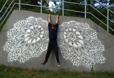 """Warsaw-based Polish """"outdoor artist"""" NeSpoon has produced stunning street art pieces of intricate lace patterns that beautify the public. Art Public, Public Spaces, Lace Art, Positive Art, Best Street Art, Photo D Art, Street Art Graffiti, Outdoor Art, Street Artists"""