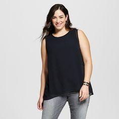 Women's Plus Size Perfect Layering Shell Black 3X - Ava & Viv