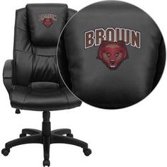 Flash Furniture Brown University Bears Embroidered Black Leather Executive Office Chair Brown University Embroidered Office Chair. Leather High Back Swivel Chair. Thick Padded Seat and Back. Oversized Headrest.  #Flash_Furniture #Home