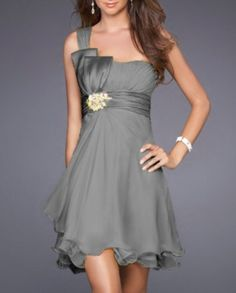 One-shoulder A-line Beaded Short Chiffon Grey Bridesmaid Dress Want the belt to be green and the beads/flowers to match the rest of the dress. Grey Bridesmaids, Grey Bridesmaid Dresses, Homecoming Dresses, Bridesmaid Ideas, Vetements Clothing, Cocktail Bridesmaid Dresses, Cocktail Dresses, Formal Dresses For Weddings, Dress Formal