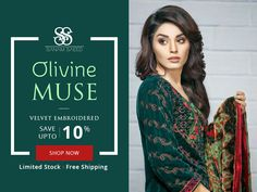 OLIVINE MUSE Women Velvet Suite SANAM SAEED Olivine Muse Velvet Embroidered Collection. Save Up To 10%