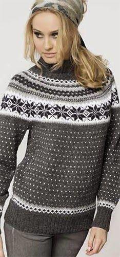 Nå kan alle finne gratismønster med diagram hos nettsiden til… Nordic Sweater, Cozy Sweaters, Sweaters For Women, Knitting Sweaters, Knitting Patterns Free, Knit Patterns, Fair Isle Knitting, Couture, Sweater Jacket