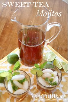 Sweet Tea Mojitos! 1 tea bag or a pinch of loose leaf tea (I used jasmine green tea; substitute your preference) 2 tbsps. of simple syrup 1/2 lime or lemon, cut in two about 8 mint leaves a splash of rum