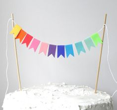 Paper Cake Garland Rainbow Flags by ScoutAndAcadia on Etsy Rainbow Bunting, Rainbow Balloons, Cake Bunting, Cake Banner, Rainbow Birthday Party, Unicorn Birthday Parties, Rainbow Wedding, Irish Celebration, Little Pony Party