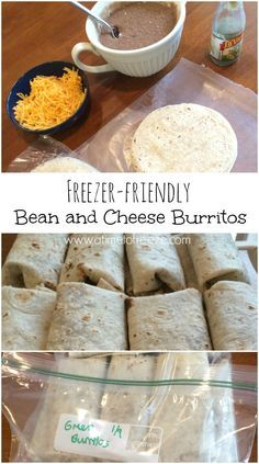 Freezer-friendly Bean and Cheese Burritos So easy! Satisfy those Mexican food cravings the inexpensive, homemade, and healthy way with these freezer-friendly bean and cheese burritos! Make Ahead Meals, Quick Meals, Quick Snacks, Freezer Cooking, Cooking Recipes, Freezer Burritos, Bean Burritos, Bean And Cheese Burrito, Frijoles Refritos