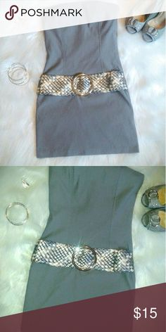Gray Strapless Mini ready for spring Super cute gray strapless bodycon with attached belt great condition sz small Dresses