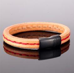 CERBEROS- pánsky náramok - hovädzia koža, čierna oceľ, červené šitie - 21,5cm 21st, Bracelets, Leather, Accessories, Jewelry, Design, Fashion, Luxury, Moda