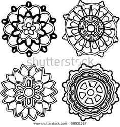 Vector set of 4 hand-drawn, stylized medallion patterns to incorporate into your design
