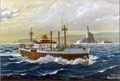 Werk van Frits Hoogstrate.Prins Willem-5-Oranje Lijn passeert Fastnet Rock,Ierland