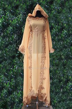 Moroccan Hoodie Kaftan Mocha Peach Chiffon Fancy FULL Gold Embroidery Dubai Abaya Maxi Dress farasha Hijab Kaftan Style Jalabiya - For Women. This seller also sell inner dress liner for $20 here: http://www.etsy.com/listing/165633186/moroccan-innerd-caftan-dress-maxi-dress?ref=shop_home_active_21