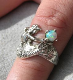 Sterling+Silver+Mermaid+Ring+with+Opal+by+freedomjewelryusa,+$59.00