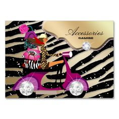 Zebra Accessories Purse Jewelry Gold Black Sparkle Business Card. This is a fully customizable business card and available on several paper types for your needs. You can upload your own image or use the image as is. Just click this template to get started!