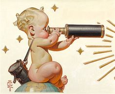Saturday Evening Post 'World-travelling baby' cover art by JC Leyendecker