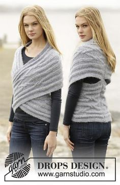 Knitted DROPS shoulder piece with cables and short rows in Air. Free knitting pattern by DROPS Design. Poncho Knitting Patterns, Crochet Poncho, Knitted Shawls, Loom Knitting, Knit Patterns, Free Knitting, Knit Shrug, Knitting Designs, Drops Design