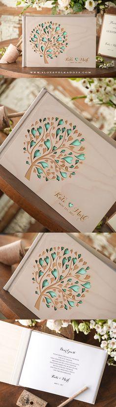 Wedding Wooden Guest Book with Tree Engraving #summerwedding #realwood #weddingguestbook