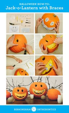 Brace yourself for the best jack-o-lantern on the block. http://www.handimania.com/diy/halloween-jack-o-lantern-with-braces.html Halloween crafts. Pumpkin carving.