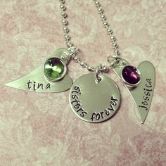 Sisters forever with two slanted hearts hand stamped metal jewelry $30