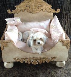 Luxurious Designer and artist inspired custom handmade Shabby Chic pet bed. $1,450.00, via Etsy.