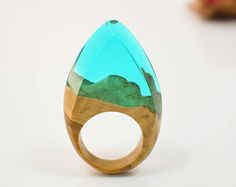 Orange Ring. Resin Wood Ring Wood and Resin Ring. Unique