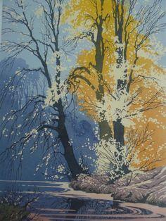 Oscar Droege (1898 - 1983) - Herbstliche Baumlandschaft am See, Farb-Holzschnitt, rechts unten signiert,  44,0 x 30,0 cm ::: Autumnal Tree Landscape at Lake, Colour Woodcut