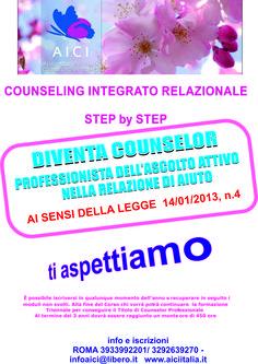 """""""CAMBIARE si PUO'"""" APPUNTAMENTO a ROMA il 12 SETTEMBRE 2015 La scuola Di Counseling A.I.C.I. è MODULARE e Circolare ed è POSSIBILE ISCRIVERSI in Qualsiasi MOMENTO dell'ANNO  Per INFO 393 3992201-329 2639270 https://www.facebook.com/events/191054201057915/ DIVENTA COUNSELOR"""" A.I.C.I.  UNA NUOVA PROFESSIONE _ UN NUOVO MODO DI AVERE CURA DI SE' e DEGLI ALTRI"""" .. Il Counseling è """"Attività professionale di cui alla Legge 14/01/2013 n. 4"""""""