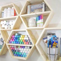 DIY Hexagon Shelves for Craft Storage – The House of Wood Diy Craft Table diy bookshelf craft table Craft Paint Storage, Craft Tables With Storage, Diy Storage Boxes, Storage Shelves, Craft Shelves, Table Shelves, Shelving, Diy Room Decor For Teens, Teen Room Decor