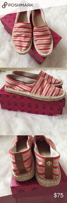 🆕 Tory Burch Espadrilles Never worn Tory Burch Espadrilles in linen-fluo pink. Very comfortable! They are on the smaller end of size 9.5 (typical with most Tory Burch shoes) Box is included but the box I got when purchasing at Nordstrom Rack is incorrect and for size 11 Reva shoes. 🚫Price is firm on these, no offers🚫 Tory Burch Shoes Espadrilles