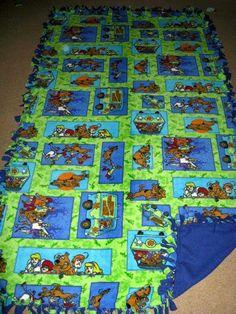 Scooby Doo w/ Blue back Fleece Tie Blanket
