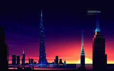 Les plus grands grattes-ciel illustrés en couleur par Romain Trystram | Design Spartan : Art digital, digital painting, webdesign, illustration et inspiration…