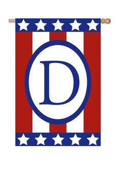 Awesome Patriotic Monogram D Garden Flag, FREE Shipping!