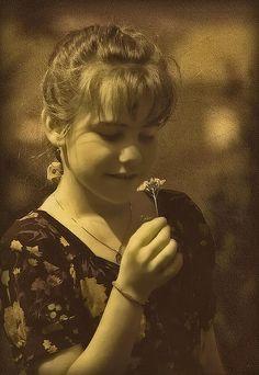 Title  Girl With Flower   Artist  Hanny Heim   Medium  Photograph - Art Photography
