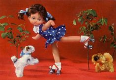 Vintage postcard of cute doll on roller skates.
