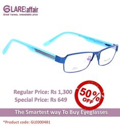 EDWARD BLAZE EBPR2013 BLUE EYEGLASSES  http://www.glareaffair.com/eyeglasses/edward-blaze-ebpr2013-blue-eyeglasses.html  Brand : Edward Blaze  Regular Price: Rs1,300 Special Price: Rs649  Discount : Rs651 (50%)