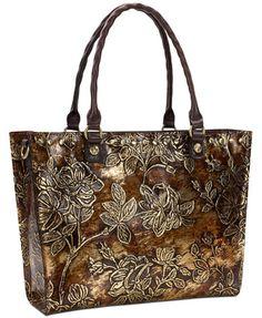 Patricia Nash Metallic Zancona Medium Tote, a Macy's Exclusive Style - Brown Fashion Handbags, Purses And Handbags, Painting Leather, Patricia Nash, Medium Tote, Beautiful Bags, Handbag Accessories, Leather Bags, Leather Craft