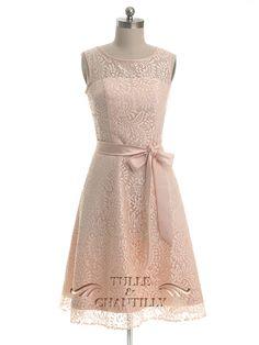 Rose Blush wedding ideas - High Neck Peach Pink Knee Length Lace Bridesmaid Dress