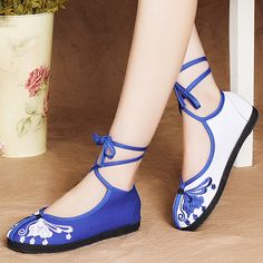 青花瓷繡花鞋