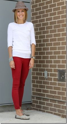 statement hat, white top, colored skinnies, printed shoe