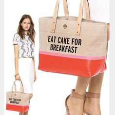 "Rare and authentic Kate spade bag Hard to find eat cake for breakfast tote bag. New with tags! Coated stripes and ""eat cake for breakfast"" lettering brings graphic flair to a canvas Kate spade tote. Double leather handles fits over the shoulder. Lined 3 pocket interior. Height 11"" length 17"" handle drop8.75"" kate spade Bags Totes"