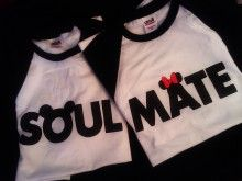 Too cute, pair of Disney inspired soul mate shirts! I really want to buy this for me and my roomie.