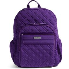 Vera Bradley Campus Tech Backpack in Elderberry (£105) ❤ liked on Polyvore featuring bags, backpacks, elderberry, purple bag, pocket bag, quilted backpack, purple backpack and vera bradley bags