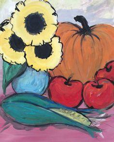 Art Original Acrylic  Harvest Table Original by BigBirdGallery, $45.00
