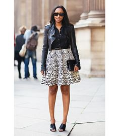 What Wear - Shiona Turini Mules feel like a fresh alternative to a traditional pump—just make sure they are closed-toe for stricter dress codes. Image courtesy of Stockholm Street Style A Line Skirt Outfits, Dressy Outfits, Work Outfits, Stockholm Street Style, Star Fashion, Fashion Trends, Fashion Marketing, African Fashion, African Style