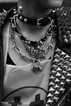 goth/punk necklaces. Studded. Choker. Chains.
