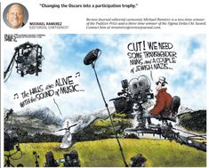 """Political correctness is run amok. Just look at today's newspaper.  Cartoonist Michael Ramirez nailed the new Oscar """"diversity"""" requirements.  Meanwhile, the morning paper reported that the Clark County School Board voted 5-1 to rename Kit Carson Elementary School, which was built in 1956.  Despite all of his discoveries and exploits, Carson's name was removed apparently because he was ordered to force the Navajos onto a new reservation further West. No mention apparently was made of the… Kit Carson, Carson City, Navel Gazing, Michael Ramirez, Morning Papers, Clark County, Diversity, Elementary Schools, Newspaper"""