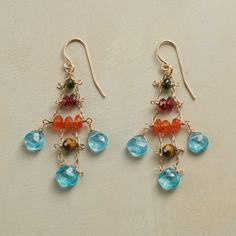"""SEA CHIME EARRINGS--$238.00 By Thoi Vo, delicate chandelier earrings that recall sun and sea with green tourmaline, garnet, carnelian, tiger's eye and apatite. 14kt gold-filled wires. USA. Exclusive. 1-7/8""""L."""