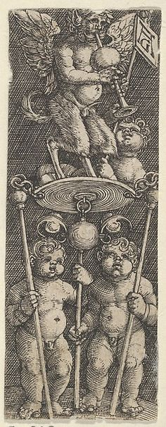 Heinrich Aldegrever | Vertical Panel with Two Children Supporting a Pedestal with a Satyr Playing a Bagpipe | The Met