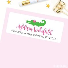 Make a great first impression with cute, personalized address labels. Our glossy labels are the... Alligator Party, Personalized Address Labels, Place Card Holders, Pink, Touch, Printed, Products, Gator Party, Prints